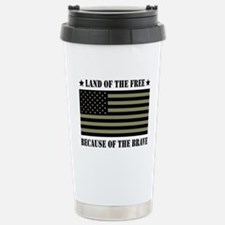 Land of the Free Camo Flag Stainless Steel Travel