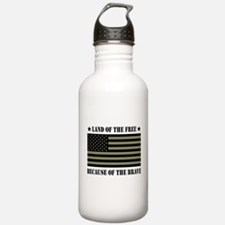 Land of the Free Camo Flag Water Bottle