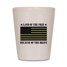 Land of the Free Camo Flag Shot Glass