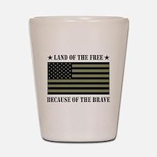 Land of the Free Camo Flag Shot Glass