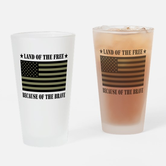 Land of the Free Camo Flag Drinking Glass
