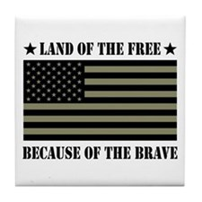 Land of the Free Camo Flag Tile Coaster