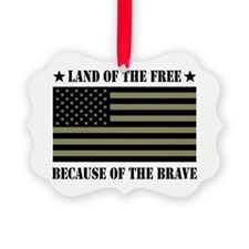 Land of the Free Camo Flag Ornament