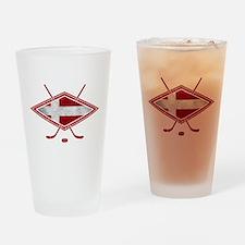 Danish Ishockey Hockey Flag Drinking Glass