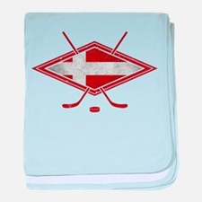 Danish Ishockey Hockey Flag baby blanket