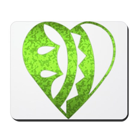 Heart Ornament, green Mousepad