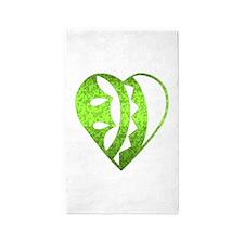 Heart Ornament, green 3'x5' Area Rug