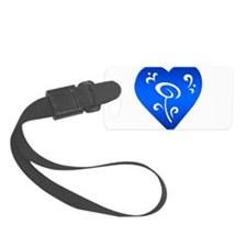 Heart Ornament, blue Luggage Tag