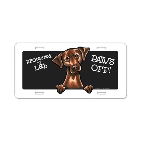 Chocolate Lab PAWS OFF Aluminum License Plate