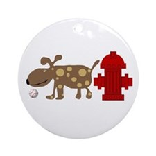Dog and Hydrant Ornament (Round)