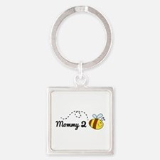 Mommy 2 Bee Square Keychain