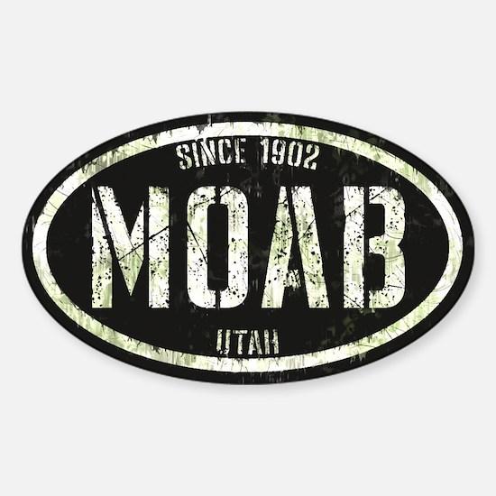 Moab Black White Grunge Sticker (Oval)