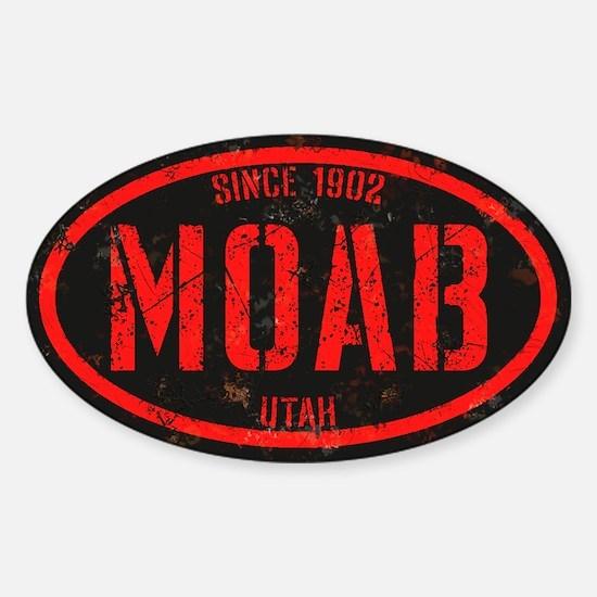 Moab Black Red Alert Grunge Sticker (Oval)