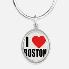 I HEART BOSTON Silver Oval Necklace