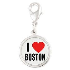 I HEART BOSTON Silver Round Charm
