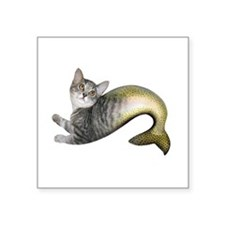 "Kitten Fish Square Sticker 3"" x 3"""