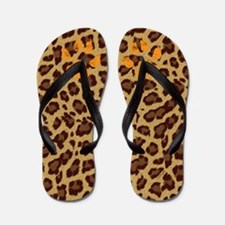 Leopard Fur Flip Flops