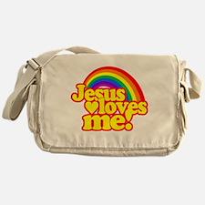 Jesus Loves Me Rainbow Messenger Bag