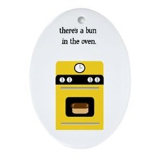 bun in the oven yellow.png Ornament (Oval)