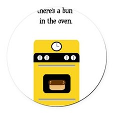 bun in the oven yellow.png Round Car Magnet