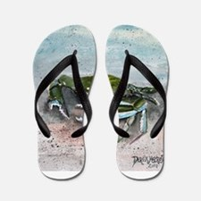 blue crab acrylic painting Flip Flops