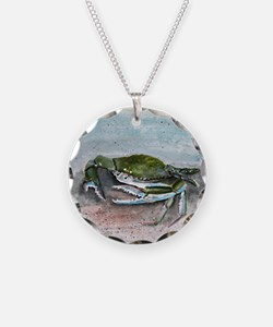blue crab acrylic painting Necklace