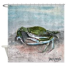blue crab acrylic painting Shower Curtain