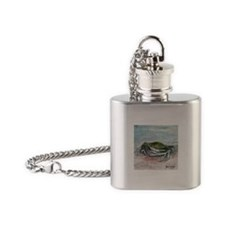 blue crab acrylic painting Flask Necklace