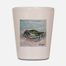 blue crab acrylic painting Shot Glass