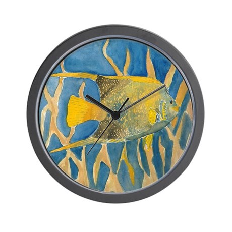 Tropical fish wall clock by fishpaintings for Fish wall clock