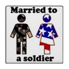 Married A Soldier Tile Coaster