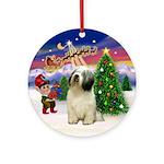 Santa's Take Off and Pon Ornament (Round)