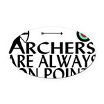 Archers On Point Oval Car Magnet