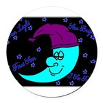 Sleepy Moonlight Round Car Magnet