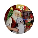 Santa at home with his PON Ornament (Round)