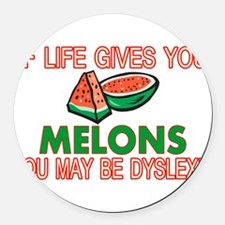Dyslexic Melons Round Car Magnet