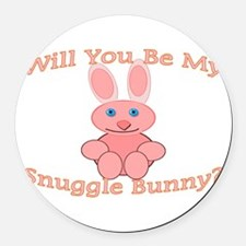 Snuggle Bunny Round Car Magnet
