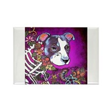 Dia los muertos dog, Pit bull Rectangle Magnet