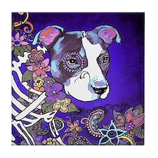 Dia los muertos, dog Tile Coaster