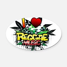 I Heart Reggae Music Oval Car Magnet