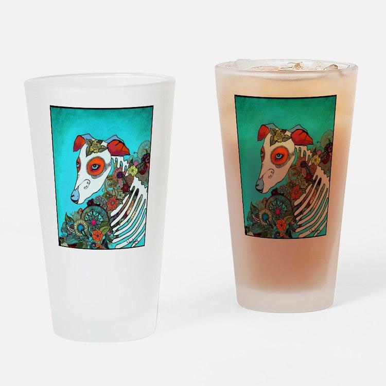 Dia Los muertos, day of the dead dog Drinking Glas