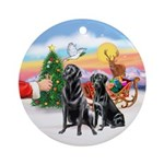 Santa's Treat & 2 Black Labs Ornament (Round)
