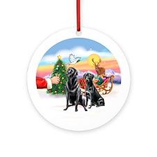 Santa's Treat & 2 Black Labs Ornament (Round)