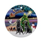 Xmas Magic & 2 Black Labs Ornament (Round)