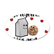 Cookies And Milk Oval Car Magnet