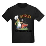 FIN-grill-therefore-i-am.png Kids Dark T-Shirt