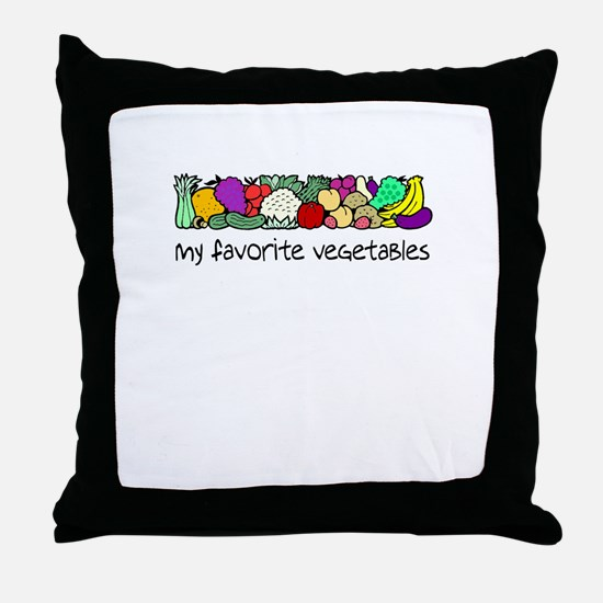 My Favorite Vegetables Throw Pillow