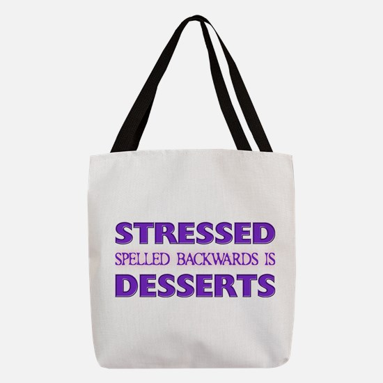 FIN-stressed-backwards-desserts.png Polyester Tote