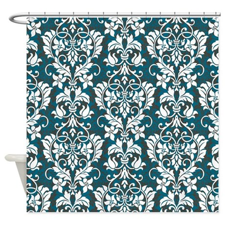 blue and brown damask shower curtain by