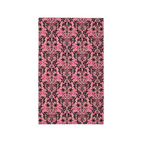 pink and black damask 3 39 x5 39 area rug by glamourgirls2. Black Bedroom Furniture Sets. Home Design Ideas
